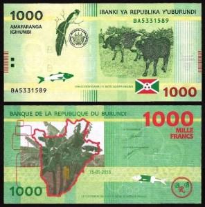 BURUNDI .n51a - 1.000 FRANCOS (2015) NOVA 1