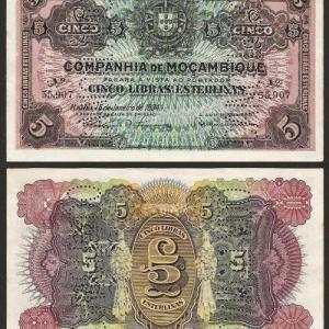 MOÇAMBIQUE (79) - 5 LIBRAS ESTERLINAS (15.01.1934) C/NOVA… Esc.