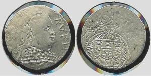(34IM031) ÍNDIA - D. JOÃO VI - RUPIA de Goa (1825/6) Prata ... Esc. +++++ VENDIDA +++++