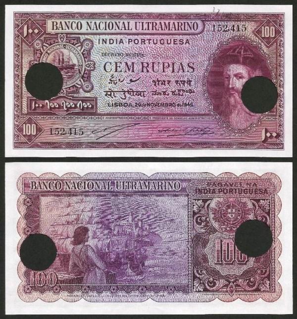 ÍNDIA PORTUGUESA (19) - 100 RUPIAS 'Afonso Albuquerque' (1945) NOVA …Rara 1