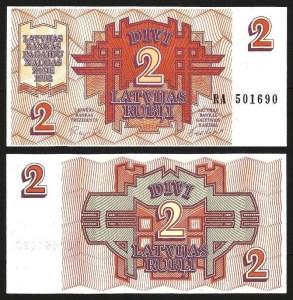 LETÓNIA .n36 (LATVIA) - 2 RUBLI (1992) NOVA… Esc. +++++ VENDIDA +++++ 1