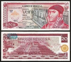 MÉXICO .n064 - 20 PESOS (1977) NOVA... Esc.