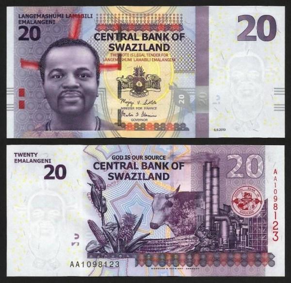 SUAZILÂNDIA .n37 (SWAZILAND) - 20 EMALANGENI (2010) NOVA
