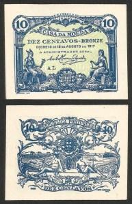 C12c06. PORTUGAL - CÉDULA 'CASA DA MOEDA' 10 CENTAVOS (15.08.1917) NOVA 1