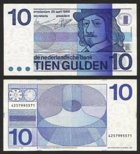 HOLANDA .n095 (NETHERLANDS) - 10 GULDEN 'Frans Hals' (1968) CIRC... Dif.