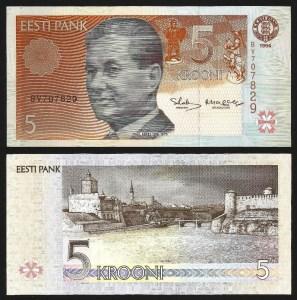 ESTÓNIA .n85y - 5 KROONI (1994) NOVA