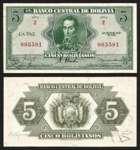 BOLÍVIA .n129 - 5 BOLIVIANOS (Lei 1928) NOVA… Esc.