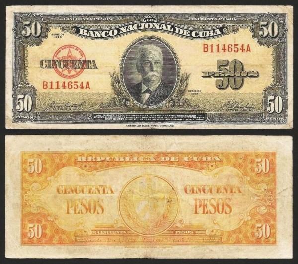 CUBA .n081 - 50 PESOS 'Calisto Iniguez' (1958) CIRC… Esc.