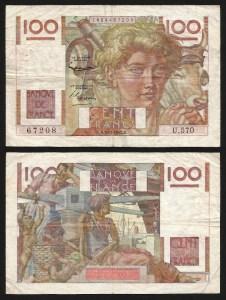 FRANÇA .n128d (FRANCE) - 100 FRANCOS (03.12.1953) CIRC…Esc
