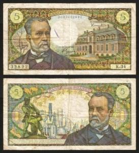 FRANÇA .n146a (FRANCE) - 5 FRANCOS 'Louis Pasteur' (01.09.1966) CIRC… Dif.