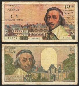 FRANÇA .n142 (FRANCE) - 10 NOVOS FRANCOS 'C. Richelieu' (07.12.1961) CIRC… Rara