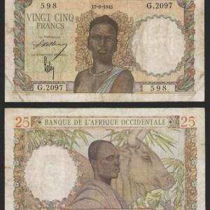 ÁFRICA OCIDENTAL FRANCESA .n38 (FRENCH WEST AFRICA) - 25 FRANCOS (1943) CIRC…Dif.