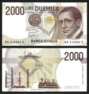 ITÁLIA .n115b (ITALY) - 2.000 LIRAS 'G. Marconi' (1990) NOVA