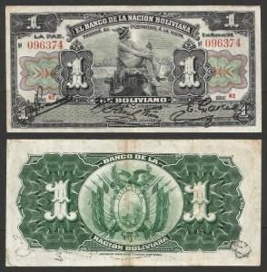 BOLÍVIA .n102 - 1 BOLIVIANO (1911) CIRC… Rara