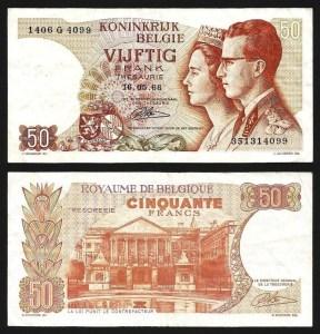 BÉLGICA .n139 (BELGIUM) - 50 FRANCOS 'King Baudouin I e Queen Fabiola' (1966) CIRC.