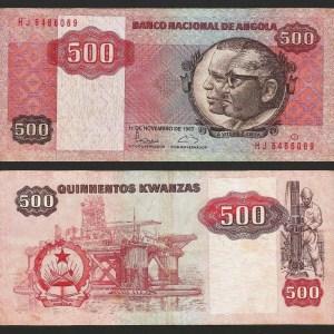 ANGOLA .n120b - 500 KWANZAS 'Agostinho Neto / José E. Santos' (1987) CIRC... Dif.