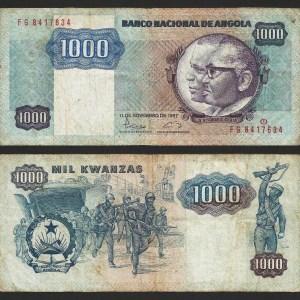 ANGOLA .n121b - 1.000 KWANZAS 'Agostinho Neto / José E. Santos' (1987) CIRC... Dif.