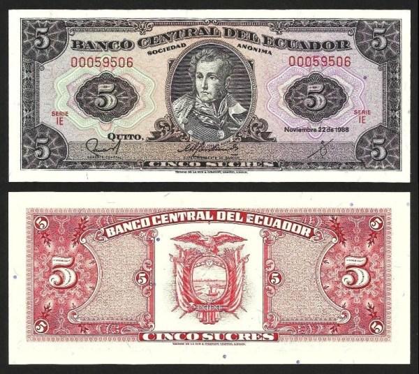 EQUADOR .n113d5 (ECUADOR) - 5 SUCRES (22.11.1988) NOVA