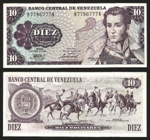 VENEZUELA .n060 - 10 BOLÍVARES (1981) BELA… Esc.