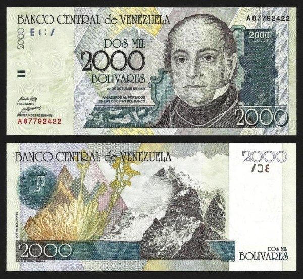 VENEZUELA .n080 - 2.000 BOLÍVARES 'Andrés Bello' (29.10.1998) NOVA