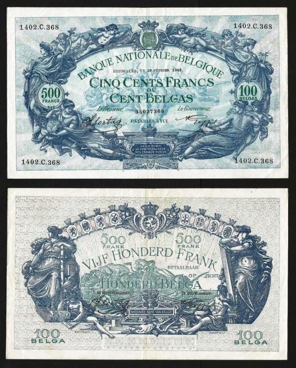BÉLGICA .n109 (BELGIUM) - 500 FRANCOS / 100 BELGAS (18/02/1943) QNOVA … Rara