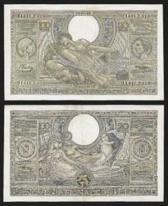 BÉLGICA .n112 (BELGIUM) - 100 FRANCOS / 20 BELGAS (10/08/1943) QNOVA... Esc.