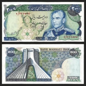 IRÃO .n103a (IRAN) - 200 RIALS 'Shah' (1974/79) NOVA… Rara