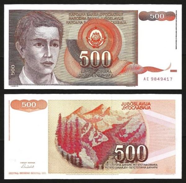 JUGOSLÁVIA .n109 (YUGOSLAVIA) - 500 DINARA (1991) NOVA