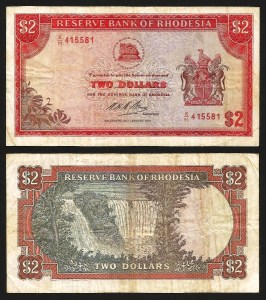 RODÉSIA .n31 (RHODESIA) - 2 DOLLARS (20.01.1975) CIRC… Rara