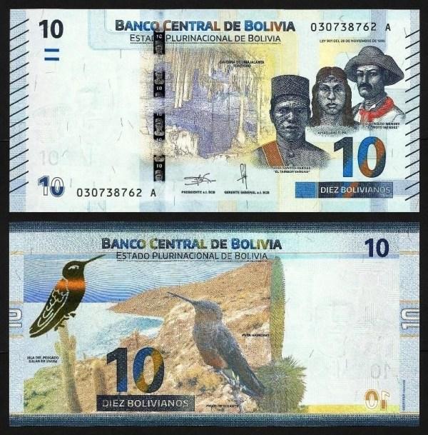 BOLÍVIA .n248 - 10 BOLIVIANOS (Lei 1986 / 2018) NOVA
