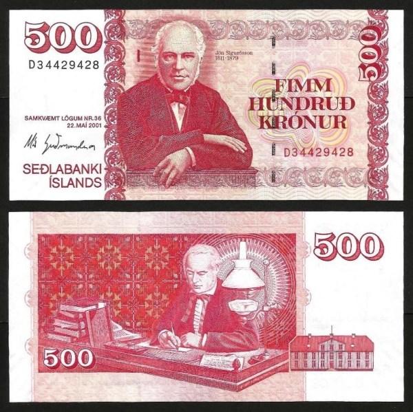 ISLÂNDIA .n58a (ICELAND) - 500 KRONUR (2001) NOVA