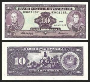 VENEZUELA .n061d - 10 BOLIVARES (1995) NOVA