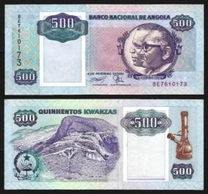 ANGOLA .n128b - 500  KWANZAS 'Agostinho Neto / José E. Santos' (04.02.1991) NOVA… Esc.