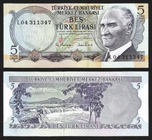 TURQUIA .n185 (TURKEY) - 5 LIRAS (L.1970) NOVA
