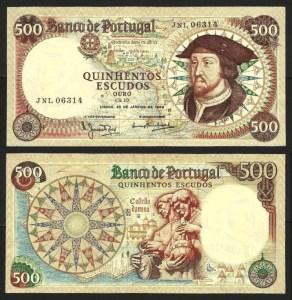 PR49A3. PORTUGAL - 500 ESCUDOS 'D. João II' Ch.10 (25.01.1966) BELA… Esc.