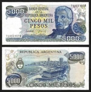 ARGENTINA .n305b-2 - 5.000 PESOS (1977/83) NOVA
