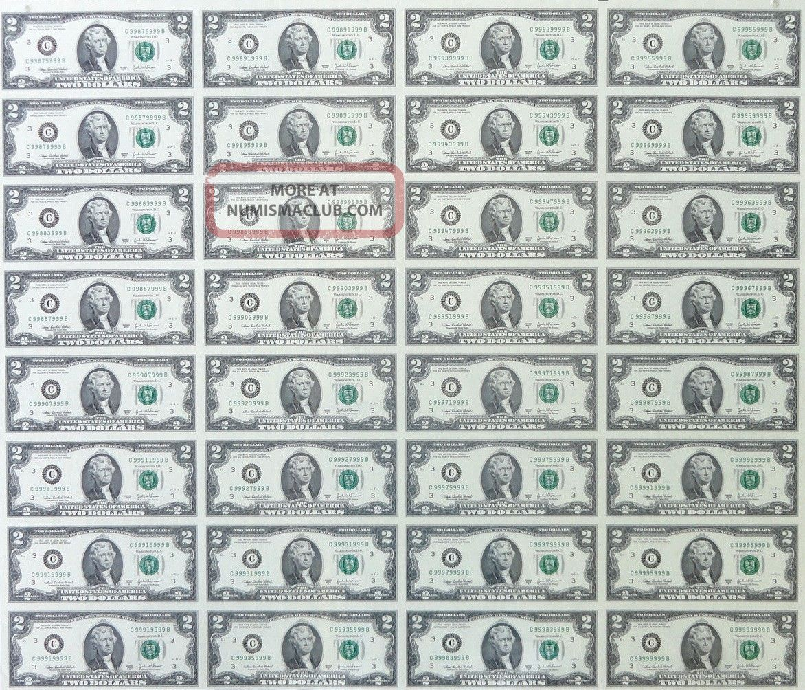 2 Uncut Sheet 32 Subject Two Dollar Bills United