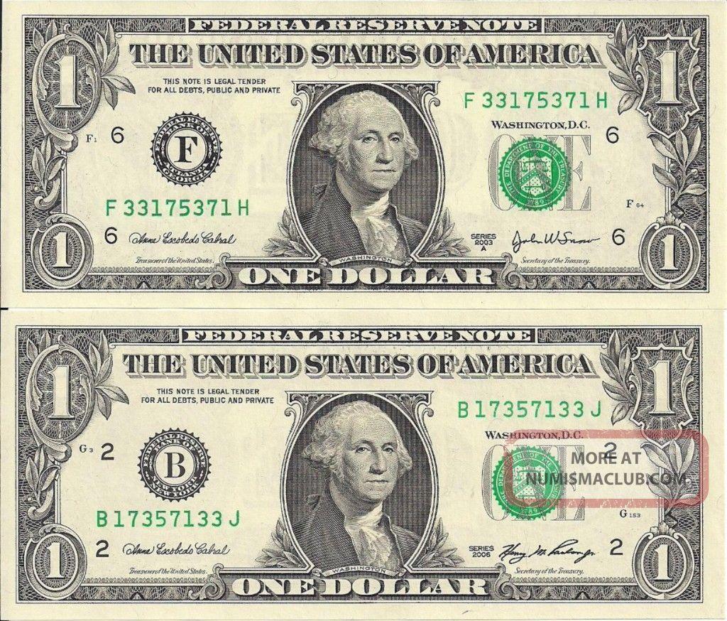 Matching Backwards Cu 1 Dollar Bills Notes Series