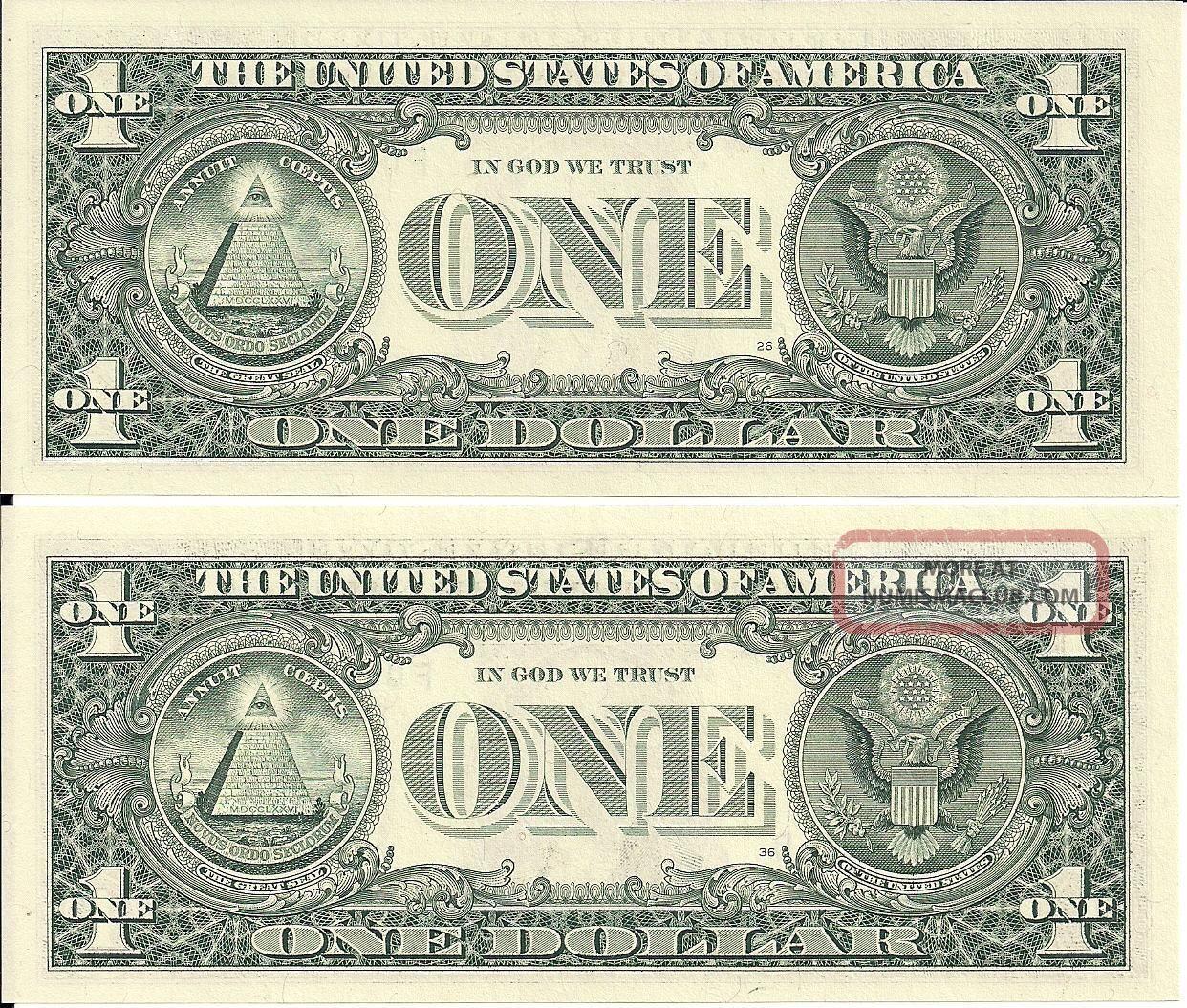 Rare 2 Matching Same Serial Low 1 Dollar Bills