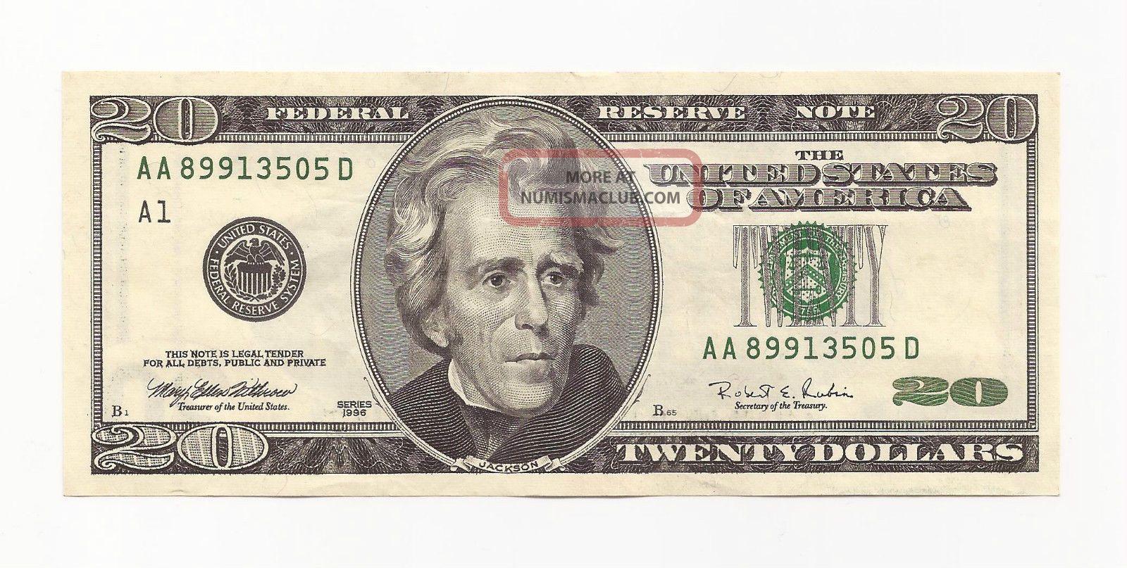 20 Twenty Dollar Bill United States Aa