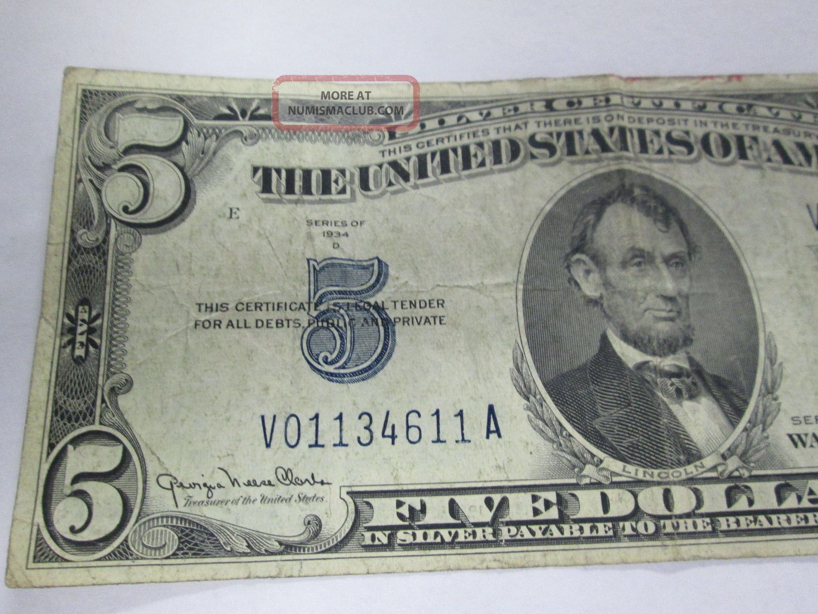 D 5 Dollar Bill Silver Certificate Blue Seal Bank Note