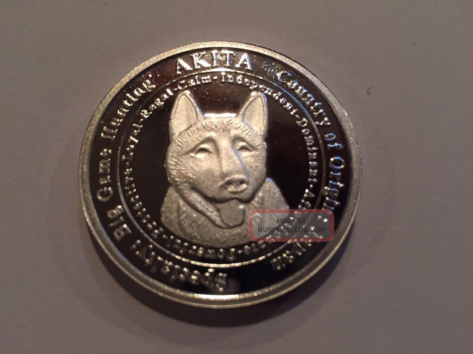 Flash 1 Ounce 999 Fine Silver Private Akita Dog Coin Round