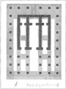 Fig.3 - Planimetria del Tempio. In grigio scuro le aree di fondazione attualmente ritrovate