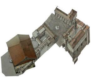"""(Fig.2 - Posizione del Tempio in una ricostruzione del """"costruito"""" attuale)"""