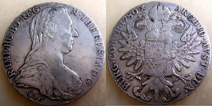 Figura 8: esemplare del seconda versione del tallero di Maria Teresa zecca di Roma.