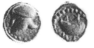 Fig. 20: Nominale d'oro di Cuma D/Elmo corinzio R/Mitilo; intono ΚΥΜΕ (London BMC 1 = N. K. Rutter 5, gr. 0,36)
