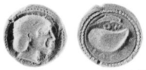 Fig. 16: Didramma focese di Cuma D/Testa femminile R/Mitilo; al di sopra un delfino; intorno ΚΥΜΑΙΟΝ (Wien 1455 = N. K. Rutter 27, gr. 7,69)