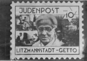 FIG.2: L'immagine di Rumkowski su di un francobollo autocelebrativo.