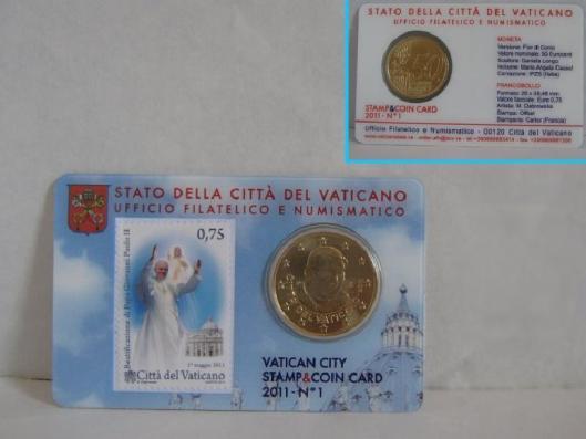 Stamp & coin-card 2011 dedicata alla Beatificazione di Papa Giovanni Paolo II (foto dell'Autore).