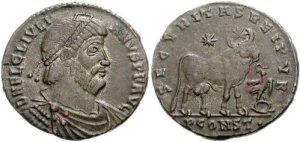 Figura 22) Giuliano II Augusto. 360-363 AD. Æ 26mm (7.50 g, 12 h). Zecca di Arelate. DN FL CL IVLIAN-VS PF AVG, capo diademato con perle, busto corazzato e drappeggiato rivolto a destra / SECVRITASREIPVB , Toro stante a destra sormontato da due stelle; ; PCONST•. RIC VIII 320; LRBC 469. (www.cngcoins.com)